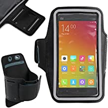 DURAGADGET Funda / Brazalete Deportivo Negro Para Xiaomi MI 4 / 4i / Mi2a / Hongmi 1s - Salida Para Auriculares + Bandas Reflectantes