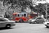 Feuerwehr Feuerwehrwagen Bild XXL Wandbild Kunstdruck Foto Poster P1183 Größe 90 cm x 60 cm