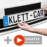 2x Klett-Car® Auto Kennzeichenhalter Set rahmenlos - Nummernschildhalterung für alle gängigen KFZ - absolut unsichtbarer Nummernschildhalter - Autokennzeichen Halterung