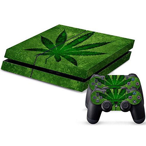 feuille-de-chanvre-style-design-decran-pour-playstation-4-console-verte-pour-les-deux-parties-bords-