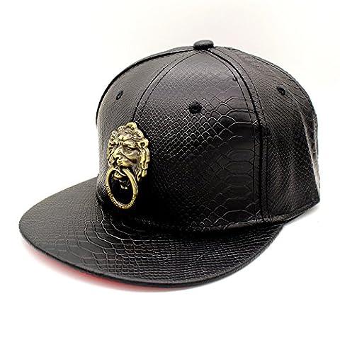 Hoop Bronze chapeau de cuir serpent noir - Baseball à plat le long du marteau d