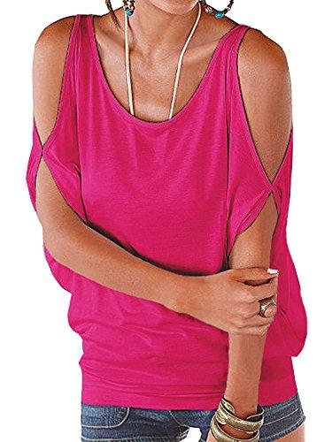 T Shirt Spalle Scoperte Bluse e Camicie Estive Donna Camicetta Manica Corta Casual Top Scollo a Barca Tinta Unita – Landove Rosa
