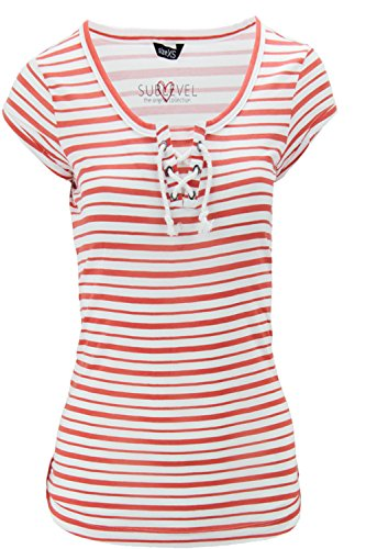 Sublevel Damen T-Shirt Shirt Anker Sailing Kordeln weiß coral