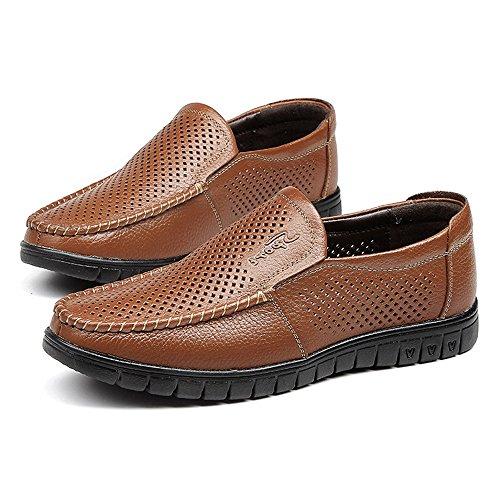 Preisvergleich Produktbild Jiuyue-shoes Herrenschuhe klassisch atmungsaktiv Perforation Echtes Leder Slip-on Superior Boden Soft Loafer Sohle 42 EU braun