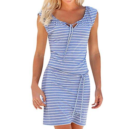 ESAILQ Damen Sommerkleid Leinen Baumwolle Blumendruck Minikleid Party Langarm Kleid Plus Größe(M,Blau)