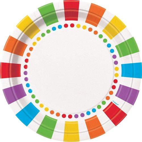 Partygram - 8 platos de 23 cm, Arco Iris (47115)