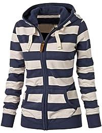 LaoZan Femmes Veste/Blouson/ Jacket à Capuche - Zip - Slim - Mode Automne Hiver - Bleu