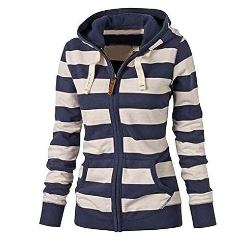 LaoZan Women's Casual Full-zip Eco Thermal/Plain/Fleece Jacket Hoodie Blue X-Large