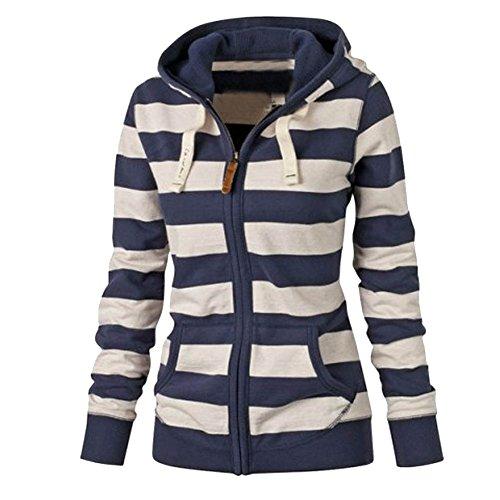 LaoZan Femmes Veste/Blouson/ Jacket à Capuche - Zip - Slim - Mode Automne Hiver - Bleu Bleu