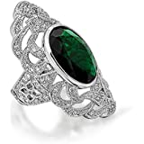Bling Jewelry Oval Green Simulated Emerald CZ Armor Ring Art Deco Style Rhodium Plated