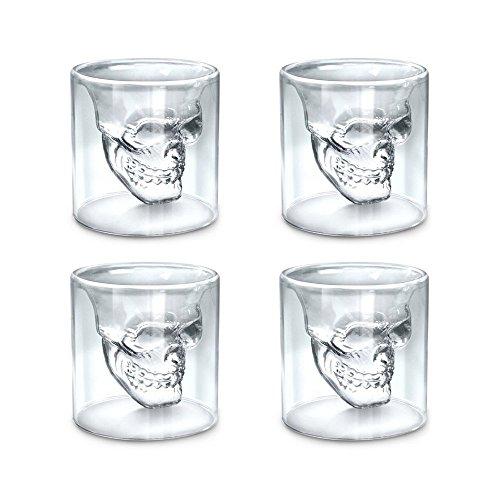 istal en forme de crâne - Double couche transparente - Motif original pour Halloween, Verre, 25ml,4 pcs, 25ml ()