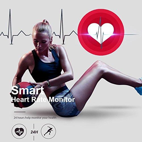 Herzfrequenz Fitness Tracker,CAMTOA ID101 Fitness Armband Pulsuhr Aktivitätstracker Wasserdicht IP67 – Schrittzähler,SMS Anrufe,Kalorienverbrauch,Kamera-Fernbedienung,ID Benachrichtigung,Musiksteuerung und Handy-Suchfunktion(USB Anschluss direkt laden) Schwarz - 5