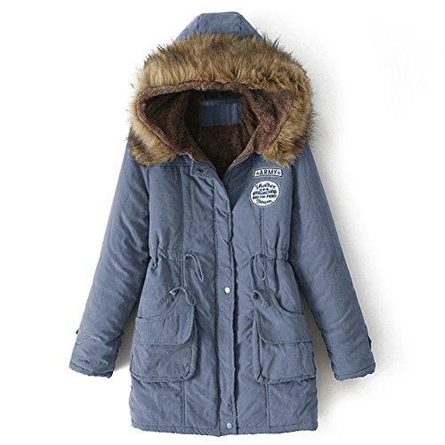 Blivener Women Warm Winter Cotton Fleece Lined Parka Faux Fur Hooded Jacket Coat Blue UK 18