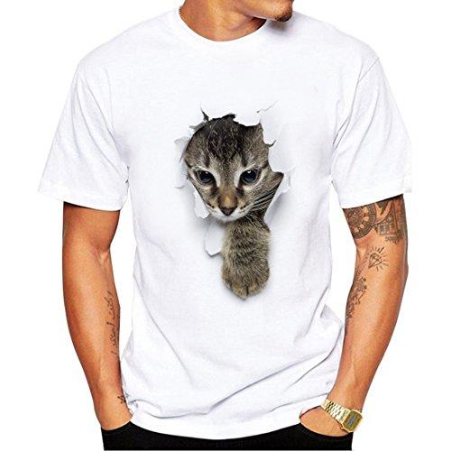 T-shirts Nette Männer Für (SEVENWELL Männer Stilvolle 3D-Druck T-Shirt Wunderbare Muster Gedruckt Kurzarm T-Shirts Top Tees Nette Katze L = US M)