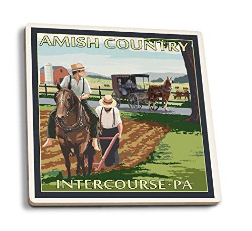 Geschlechtsverkehr, Pennsylvania-amischen Landwirte und Buggy, keramik, mehrfarbig, 4 Coaster Set -