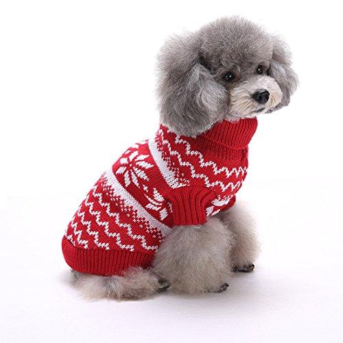 GWELL Hund Hundepullover Hundepulli Winter Strickpullover Sweater Cardigan Weihnachten Fasching Kostüme für kleinen großen Hund Katze Schneeflocke Rot L