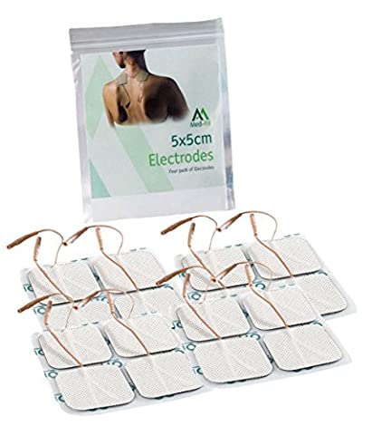 Med-Fit 1 Tens pads 16 electrodes 4 packs of the highest quality extra long lasting self adhesive Tens Electrodes size 5cm x5cm 2x 2 Med-Fit Electrodes use patented Multi stick gel for guaranteed long life by