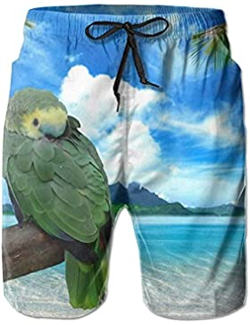 Parrot Jungle Azure Ocean Men's/Boys Casual Swim Trunks Short Elastic Waist Beach Pants with Pockets