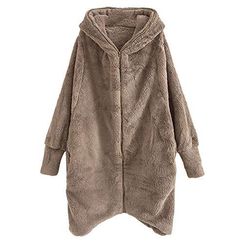 OSYARD Damen Plüschjacke,Übergangsmantel,Kapuzemantel, Frauen Winter Warme Lose Reißverschluss Taschen Unregelmäßige Hooded Oberbekleidung Coat Strickjacke Mantel Outwear Jacke