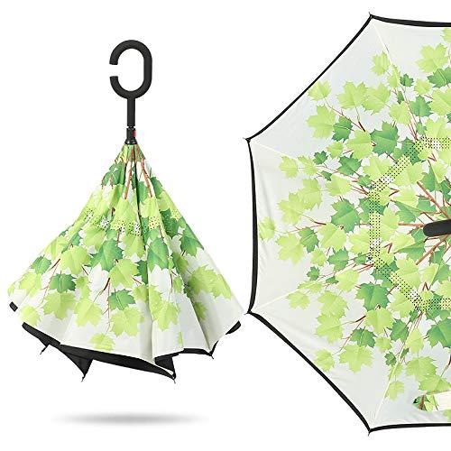 Parasol Straight Double-Decker Reverse Umbrella Free Umbrella Green Leaf 23 Zoll * 8 Knochen -