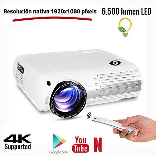 Proyector Full HD 1080P, Seelumen FH800 (1920x1080) 6.500 lúmenes LED, Proyector Maxima luminosidad Portátil LED Cine en casa WiFi, Bluetooth, AC3 HDMI USB Android con Netflix , Youtube, Kodi