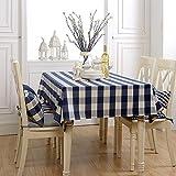 SYHOME Tovaglia Impermeabile Tartan Tovaglia in cotone Giardino Biancheria da tavola da pranzo,Coperchio blu scuro120*180