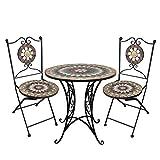 Wohaga® 3tlg. Mosaik Gartengarnitur Mosaiktisch Ø70cm + Klappstühle Sitzgarnitur Sitzgruppe Gartenmöbel Balkonmöbel