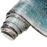 circulor Papier Peint Bleu Marine Et Or, Papier Peint Vintage, Mur De Fond Auto-adhésif, Papier Peint Autocollant Imperméable Grain De Bois PVC