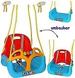 mitwachsende - Babyschaukel / Gitterschaukel mit Gurt - ' ROT / GELB / BLAU ' - incl. Name -...