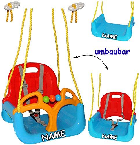 alles-meine.de GmbH mitwachsende - Babyschaukel / Gitterschaukel mit Gurt -  ROT / GELB / BLAU  -...
