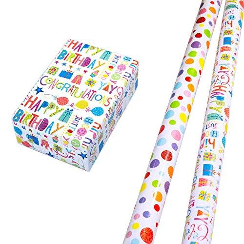 Geschenkpapier Set 2 Rollen (75 x 150 cm), Glitzer-Schrift Geschenkpapier, Punkte-Design hochwertig mit Glitter veredelt. Für Geburtstag, Kinder. Motiv Ballero und Happy Birthday edel und hochwertig (Geburtstag Geschenkpapier)