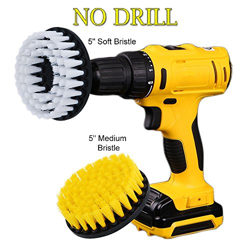 OxoxO 5inch Drill Powered Cleaning Scrub Brush Attachment Kit Soft and Medium for Pool Tile Flooring Brick Ceramic Marble Grout and Much More (Pack of 2) -