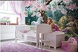 Yosot Fantasy Fashion Wand Papier Rosa Blume Baum Unter Einzelnen Mädchen Und Pferd Kinder Hintergrund Wall 3D Tapete-300Cmx210Cm