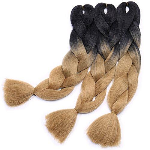 Extension treccine per capelli trecce ombre braiding hair braids extensions 100g/pcs, confezione da 3 ciocche, due tonalità 23# nero a castano