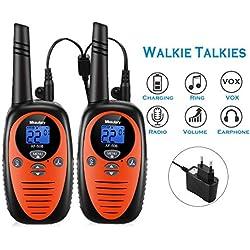 Mksutary Talkie Walkie Rechargeable, Talkie-walkie Enfant Rechargeable Longue Portée 3KM 8 Canaux Radio Transmetteur Bi-directionnel Auto Scan Longue Autonomie Chargeur Fourni (Orange,Pack de 2)