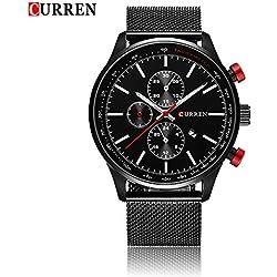 CURREN Men's Wrist Watches Business Men's Quartz WristWatch 3ATM Daily Water Resistant Alloy Strap Wristwatch Black/Silver/Gold