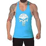 West See Herr Mann Tops Tank Tankshirt Vintage Skull Totenkopf T-Shirt Weste Muscleshirt Print (EU L, Blau)