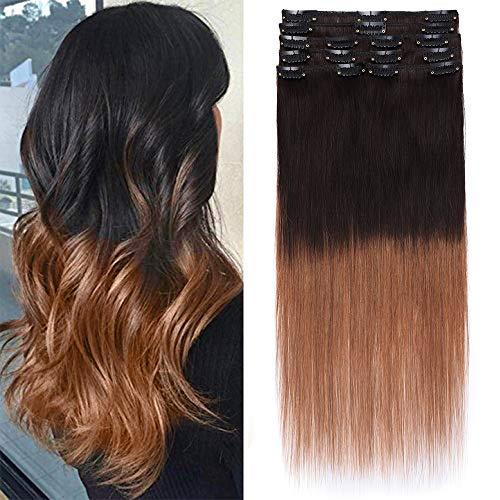 40cm-60cm extension clip capelli veri shatush 8 fasce 100% remy human hair 45cm capelli lisci naturali 70g #2t6 marrone ombre castano