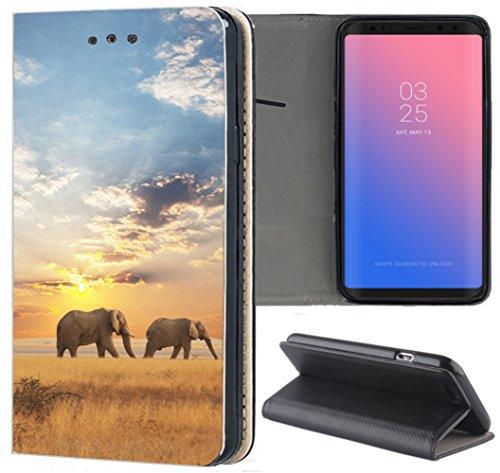S3 Neo Hülle Premium Smart Einseitig Flipcover Hülle Samsung S3 Neo Flip Case Handyhülle Samsung S3 Motiv (1465 Elefant Elefanten Afrika Wildness) ()