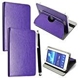 7'' Universal Tablet Hülle - Mobile Stuff Ultra Slim PU Leder Flip Cover Schutzhülle für tablet PC Painted Case Lederhülle Ledertasche Etui Hülle Tasche Schale mit Ständer Function + Stylus (Universal Hülle für 7 Zoll, Plain Purple Book) Lenovo Tab 2 A7-10 7 Zoll Tablet Pc, Huawei Mediapad X2, Odys Rapid 7 LTE 7 Zoll Tablet-PC, Asus Nexus 7, Alldaymall A88X 7 Zoll Tablet PC, Dragon Touch Y88X Plus 7 Zoll Tablet PC, iRULU eXpro 1 Tablet PC (X1), XIDO X70 7 Zoll Tablet-Pc