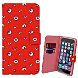Xtra-Funky Range iPhone 5 / 5S Googly Eyes Cartoon Face PU Leather Wallet Flip Case Cover - Eyes on Red