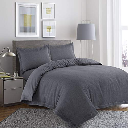Nimsay Home Anton Bettbezug-Set, 100% Baumwolle, 100% Baumwolle, grau, Doppelbett - Grau Fischgrät Wolle