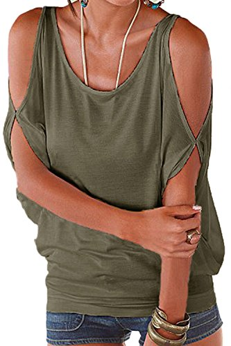 Frauen Ist Sommer, Kalte Schulter Locker - T - Shirt Armygreen