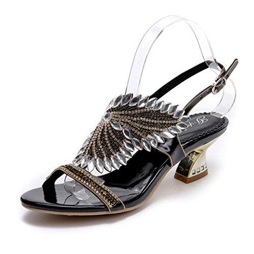 Doris Women's Evening Wedding Dress Shoes Glitter Rhinestone Floral Heels Sandals Summer Fashion Slippers Black 7 UK (Slipper Flats Beaded Schuhe)