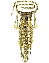 idealway bohemio estilo vintage plateado borla de aleación de chapado en oro cadenas cuello collar