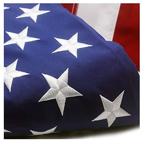 VSVO Dünne blau/rote Linie und amerikanische Flagge, 3 x 5, bestickte Sterne und genähte Streifen mit Ösen, USA Flaggen 3 X 5 FT American Flag 3'x5' - Genähte Linie