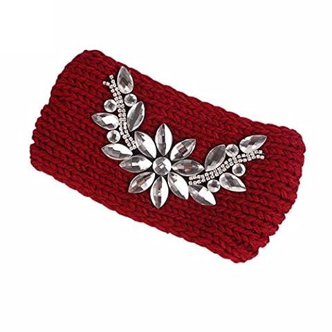 Womens Beanies,Clode® Chic Boho Winter Flower Chunky Cable Crochet Beanie Cap Hat Warm Headband