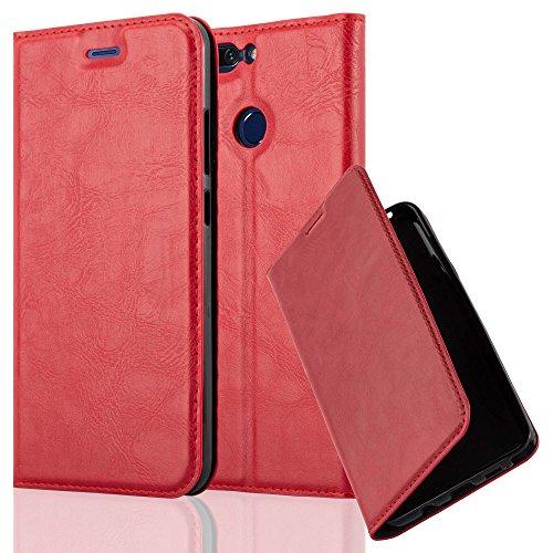 Cadorabo Coque pour Honor 8 Pro en Rouge DE Pomme - Housse Protection avec Fermoire Magnétique, Stand Horizontal et Fente Carte - Portefeuille Etui Poche Folio Case Cover