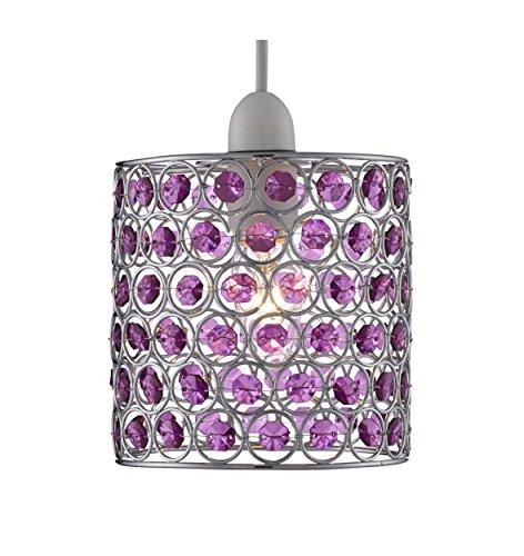 Lighting Collection 700047 - Lampadario a sospensione, per 1 lampadina da 60 W, struttura cromata non elettrificata, colore: viola