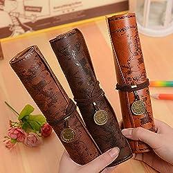 Weimay PU Leather Pencil Case Travel Drawing Porta Lápices Más Adecuado para Escritores Artistas y Estudiantes Extra Large